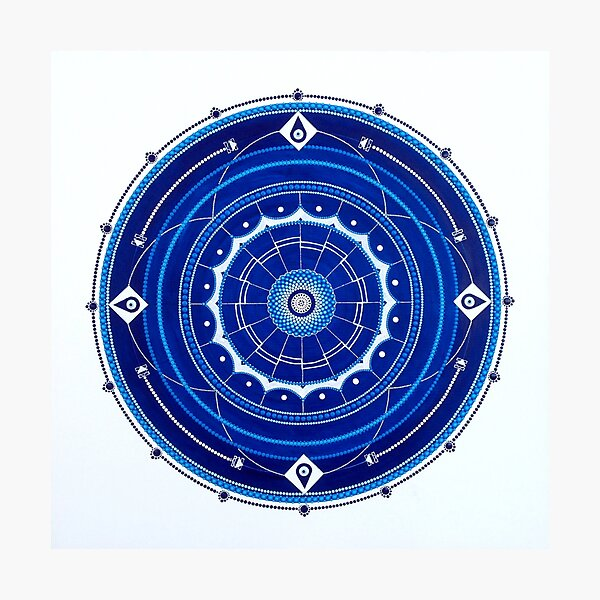Mandala Dot Painting Blue - PROTECTION by Dutch artist Tessa Smits Photographic Print
