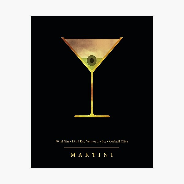 Martini - Cocktail - Classic Cocktails Series - Black and Gold - Modern, Minimal Decor Photographic Print