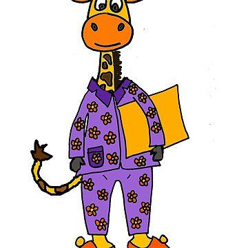 Cute Giraffe wearing Purple Pajamas Cartoon by naturesfancy