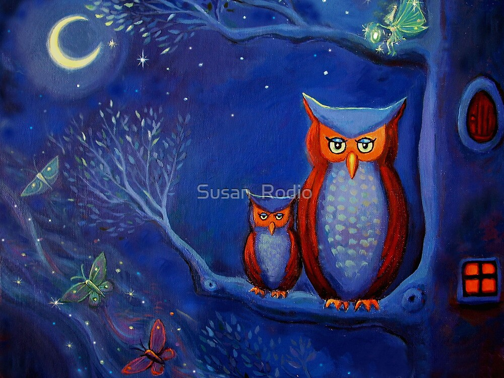 The Forest At Night - Owl Art  by SusanRodio