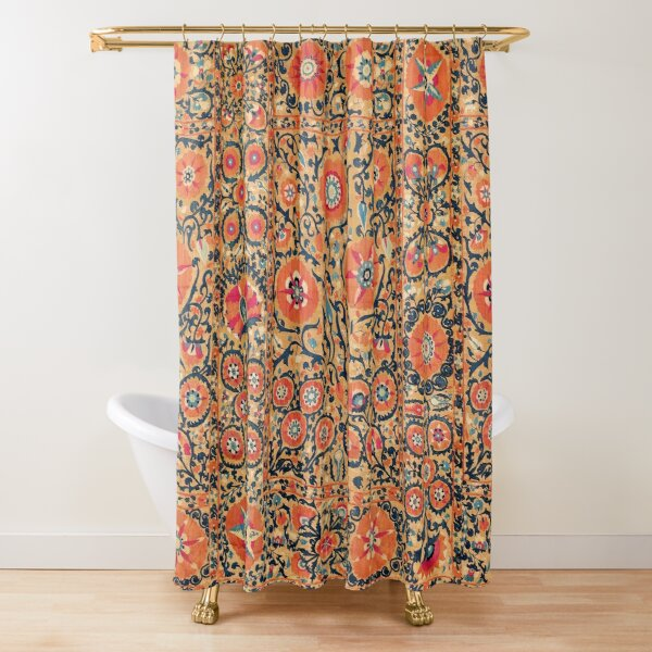 ANTIQUE RED BLUE ORANGE FLORAL UZBEK EMBROIDERY WITH POMEGRANATE FLOWERS Shower Curtain