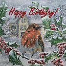 Very Snowy Robin Birthday Card  by EuniceWilkie