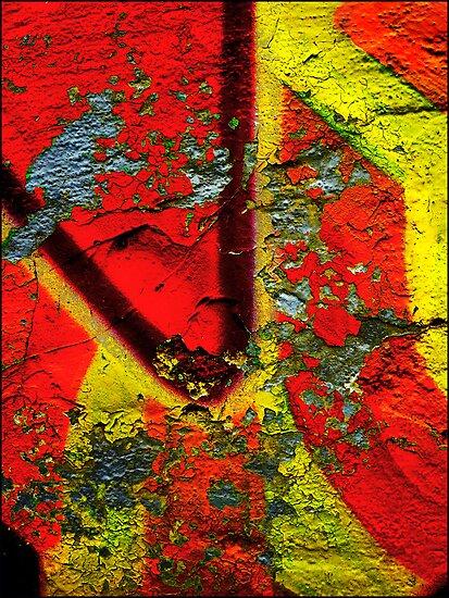 Graffiti Wall Abstract Art -Yellow -Red by Albert Sulzer