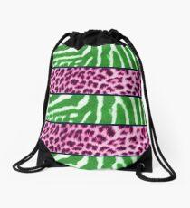 Animal print green and pink Drawstring Bag