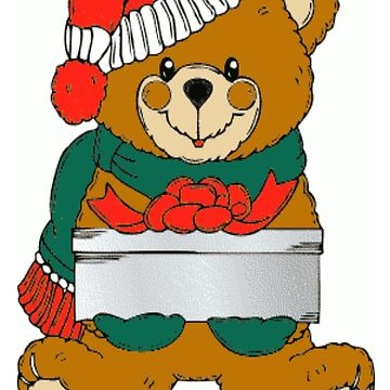 Christmas Teddy Bear And Gift by BlackStarGirl