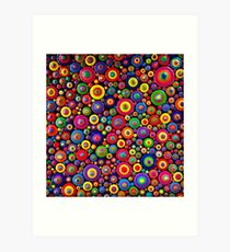 Abstract Dot Painting HAPPY by Dutch Artist Tessa Smits Art Print