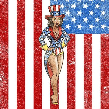 American Traditional Patriotic Woman with Flag (Distressed) by salty-dog