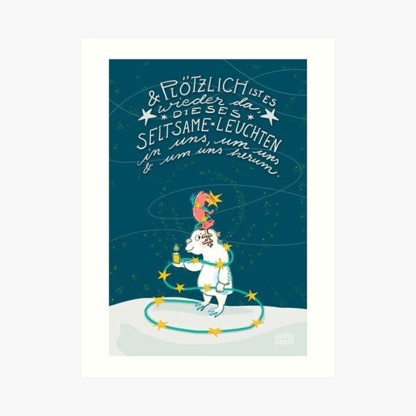 Yeti & Hirsch mit Lichterkette Kunstdruck