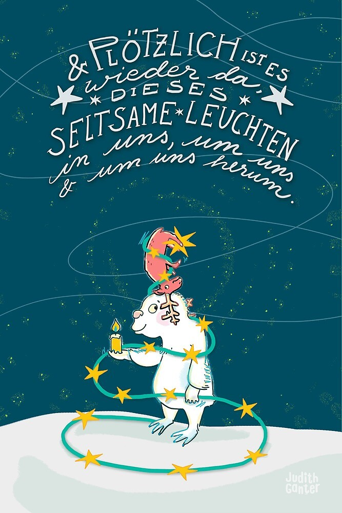 Yeti & Hirsch mit Lichterkette von Judith Ganter