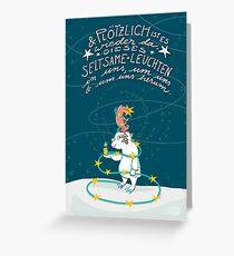 Yeti & Hirsch mit Lichterkette Grußkarte
