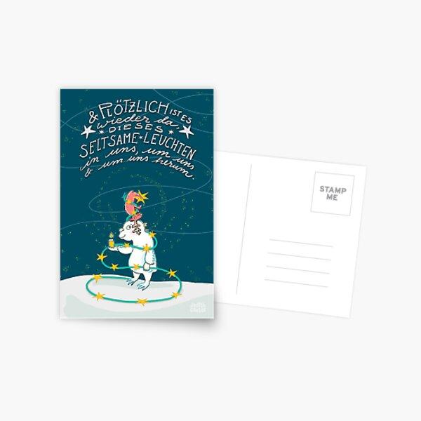 Yeti & Hirsch mit Lichterkette Postkarte