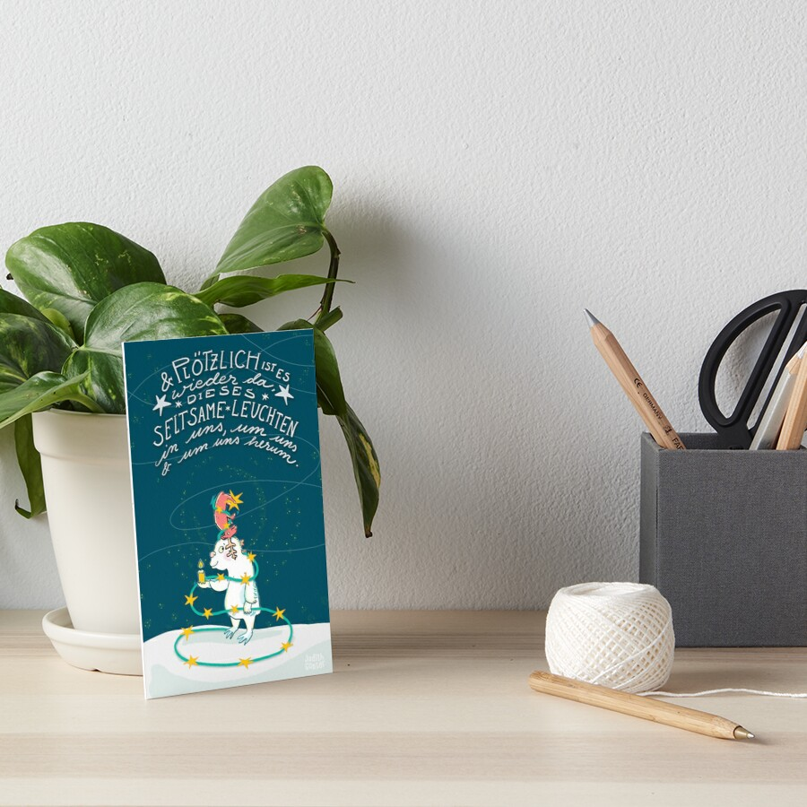 Yeti & Hirsch mit Lichterkette Galeriedruck
