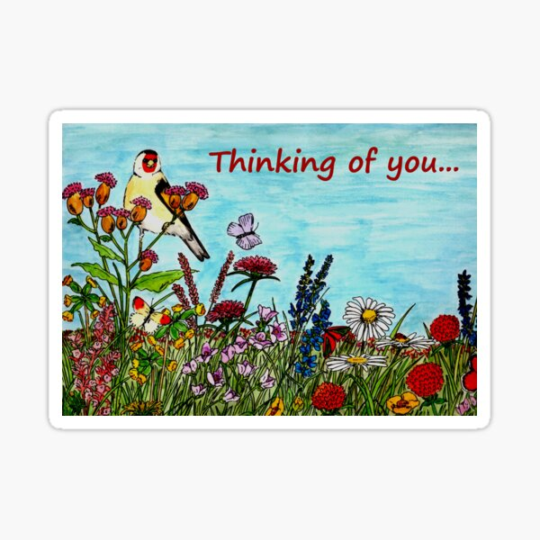 Flower Meadow - Thinking of You Card Sticker