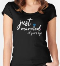 18th Wedding Anniversary Gifts - Just Married 18 Years Women's Fitted Scoop T-Shirt