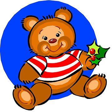 Christmas Teddy Bear With Holly by BlackStarGirl