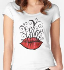 Weird lips ink drawing Women's Fitted Scoop T-Shirt