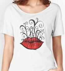 Weird lips ink drawing Women's Relaxed Fit T-Shirt