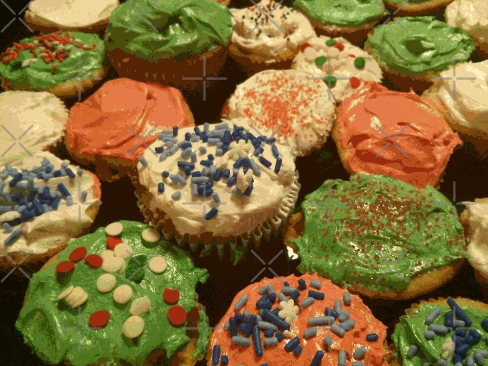 Christmas cupcakes with sprinkles by someartworker