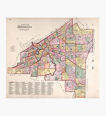 Lámina fotográfica Mapa Vintage de Cleveland OH (1892)
