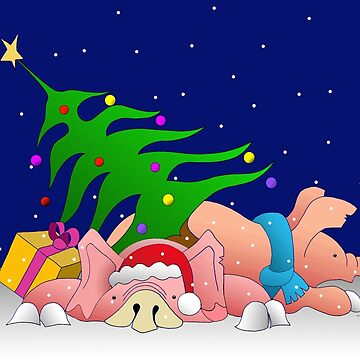 Pigs with tree and presents waiting for Christmas  by Royisaacs