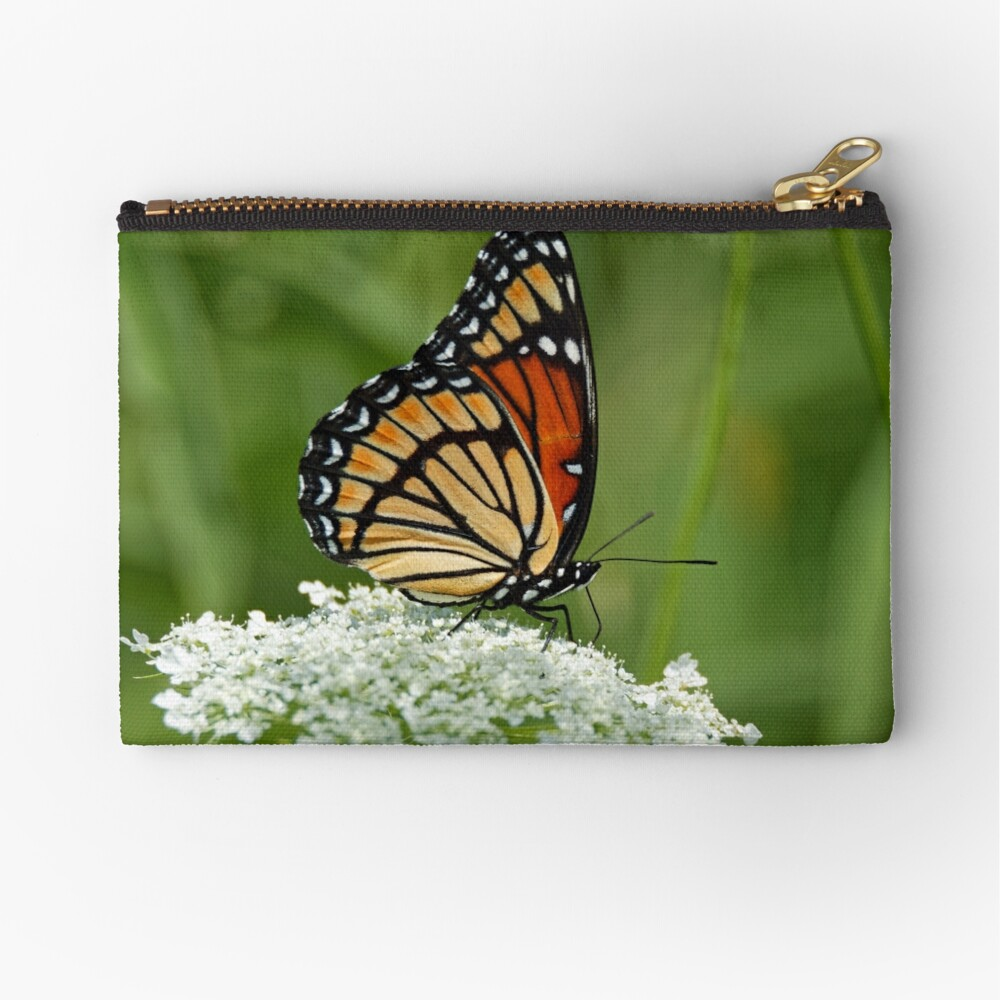Viceroy Butterfly on Queen Anne's Lace Zipper Pouch