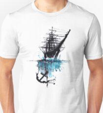 Rigged Sail Ship Watercolor Unisex T-Shirt