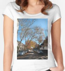 #tree #road #city #street #architecture #outdoors #landscape #house #travel #town #avenue #sky #horizontal #colorimage #builtstructure #naturalparkland #publicpark #nopeople #scenicsnature #day Women's Fitted Scoop T-Shirt