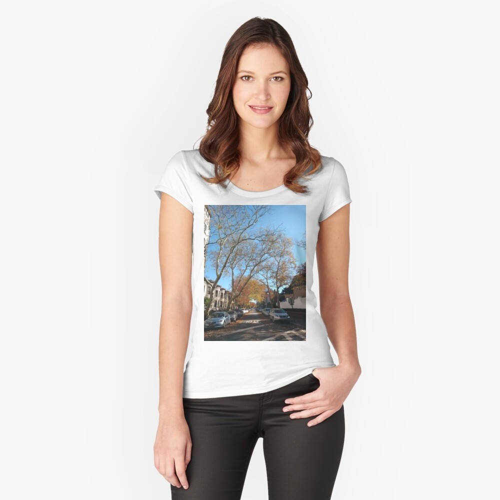 #tree #road #city #street #architecture #outdoors #landscape #house #travel #town #avenue #sky #horizontal #colorimage #builtstructure #naturalparkland #publicpark #nopeople #scenicsnature #day Fitted Scoop T-Shirt