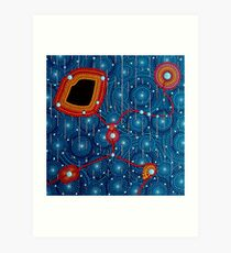 Abstract Dot Painting SINGING IN THE RAIN by Dutch Artist Tessa Smits Art Print
