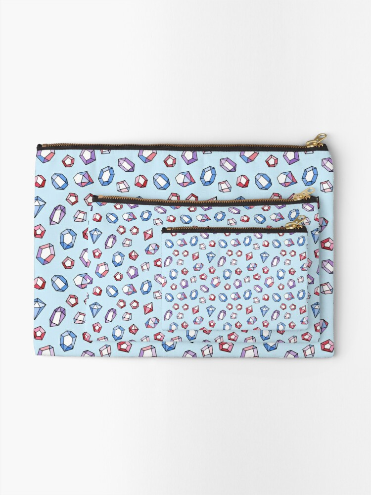 Alternate view of Jewels on blue Zipper Pouch