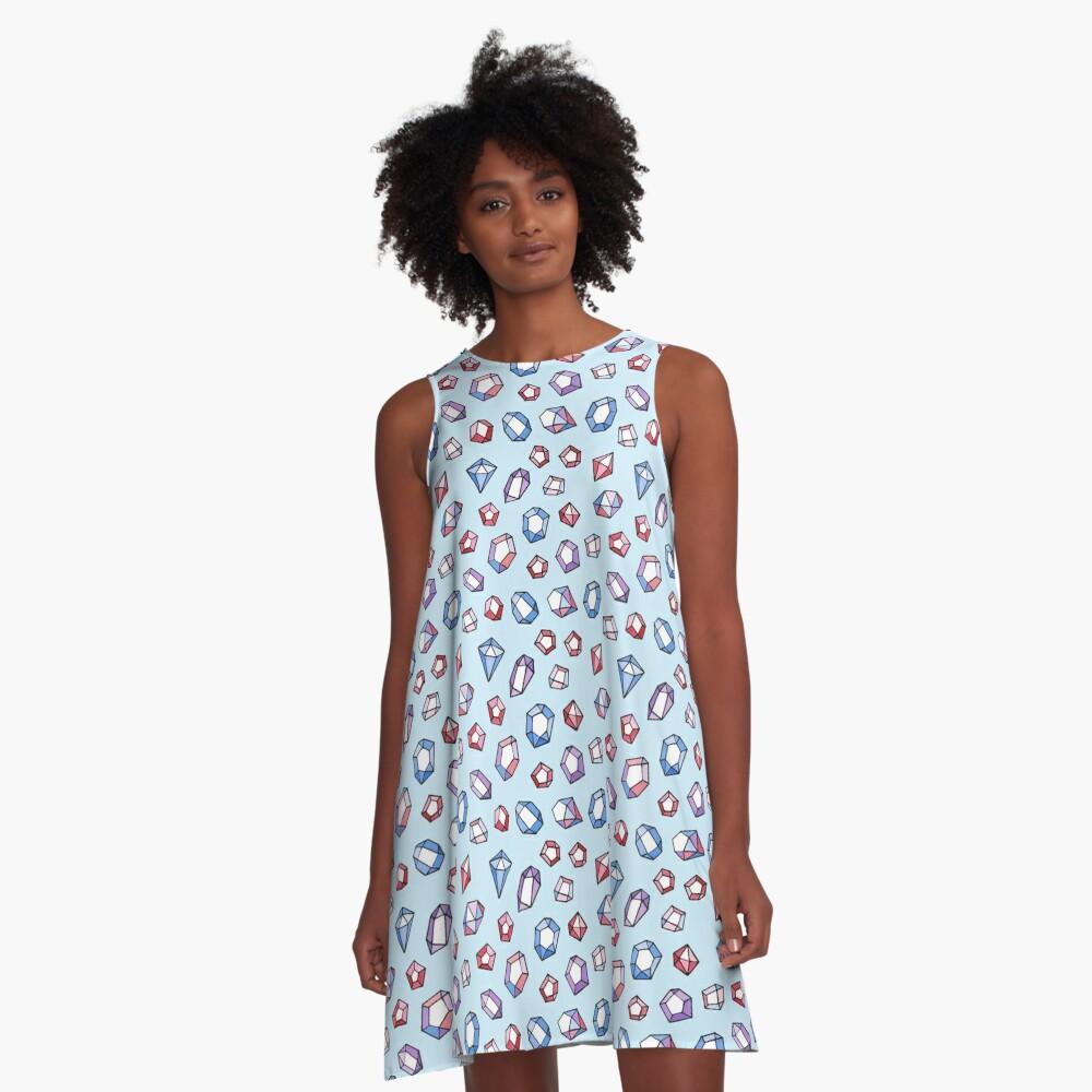 Jewels on blue A-Line Dress