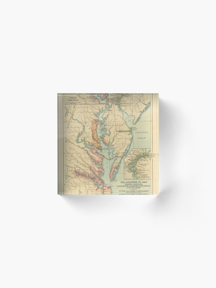 Alternate view of Vintage Virginia and Maryland Colonies Map (1905) Acrylic Block
