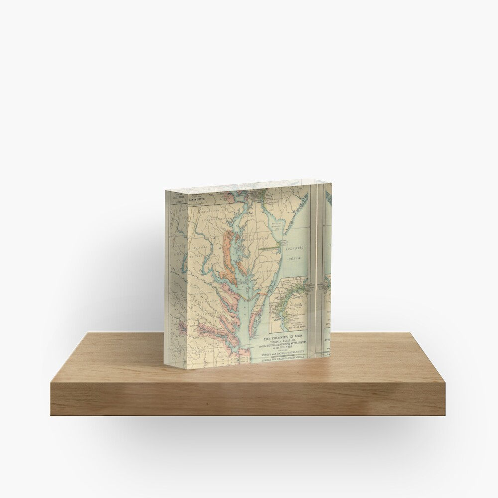 Vintage Virginia and Maryland Colonies Map (1905) Acrylic Block