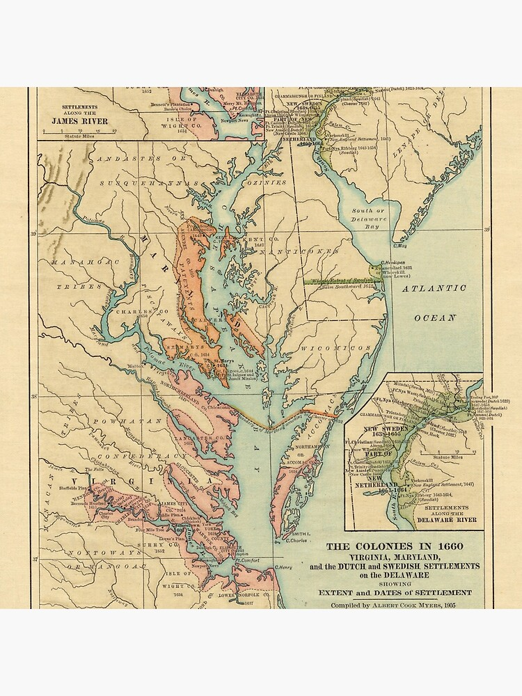 Vintage Virginia and Maryland Colonies Map (1905) by BravuraMedia