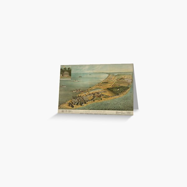 Vintage Pictorial Map of Point Lookout MD (1864) Greeting Card