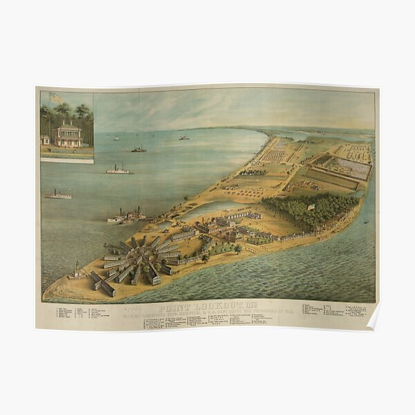 Vintage Pictorial Map of Point Lookout MD (1864) Poster
