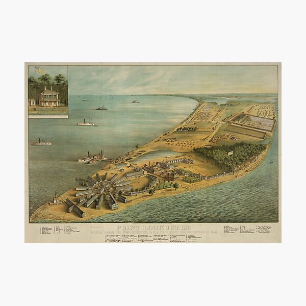 Vintage Pictorial Map of Point Lookout MD (1864) Photographic Print