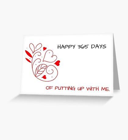 Felices 365 días de aguantarme, tarjeta de aniversario, tarjetas de felicitación meme Tarjeta de felicitación