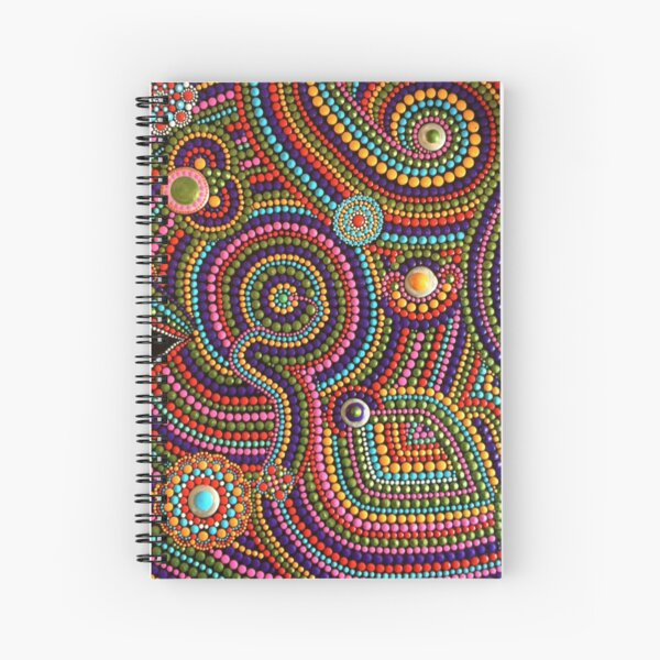 Abstract Dot Painting SPANISH FALL by Dutch Artist Tessa Smits Spiral Notebook