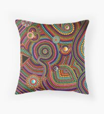 Abstract Dot Painting SPANISH FALL by Dutch Artist Tessa Smits Throw Pillow