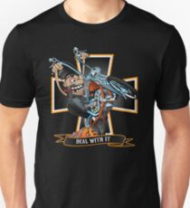 Deal with it -  funny biker riding a chopper, popping a wheelie motorcycle cartoon Unisex T-Shirt