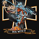 Deal with it -  funny biker riding a chopper, popping a wheelie motorcycle cartoon by hobrath
