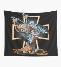 Deal with it -  funny biker riding a chopper, popping a wheelie motorcycle cartoon Wall Tapestry