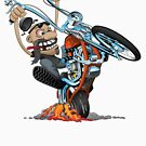 Funny biker riding a chopper, popping a wheelie motorcycle cartoon by hobrath