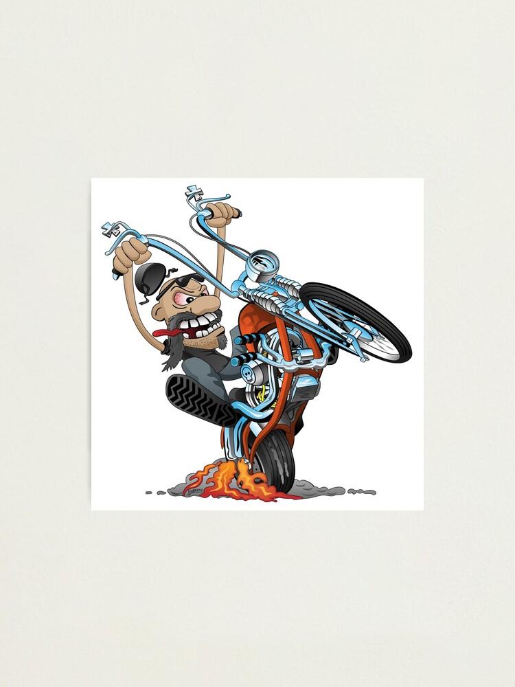 Impression Photo Motard Drole Chevauchant Un Helicoptere Faisant Eclater Une Caricature De Moto Wheelie Par Hobrath Redbubble