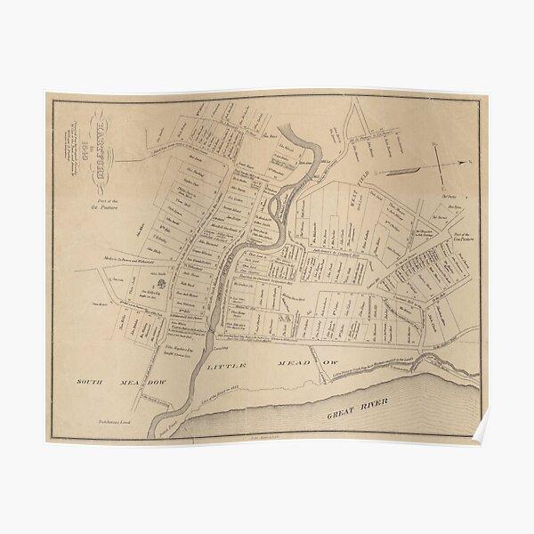 Vintage Map of Hartford CT  in 1640 (1890) Poster