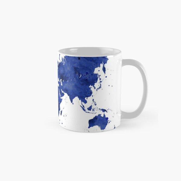 2019 Calendar: navy blue watercolor world map Classic Mug