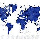 2019 Calendar: navy blue watercolor world map by blursbyai