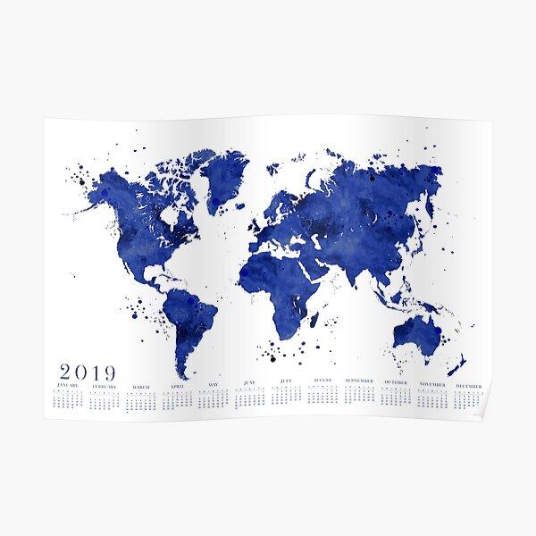 2019 Calendar: navy blue watercolor world map Poster