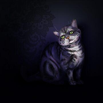 dreamy cat Bayun on a dark background by Eevlada